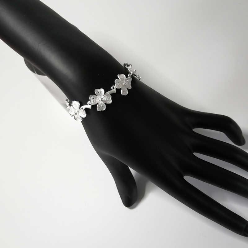 مجوهرات فاخرة 999 فضة سوار حلية فام زهرة أساور يدوية الصنع للنساء العرقية سوار براتشيالي دونا