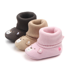 2019 New Unisex Wool Baby Shoes For Newborn Girls Boys Snow Boots Cute Bear Animal Infant Soft Bottom Shoes First Walkers