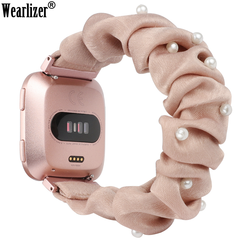 Wearlizer Women Cloth Watch Band For Fitbit Versa Fashion Elastic Strap Scrunchies Wristband Accessories Strap For Versa 2