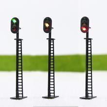 JTD02 5 adet Model demiryolu bloğu sinyalleri 3 lights yeşil sarı kırmızı trafik sinyal ışıkları HO veya OO ölçekli 8.3cm 12V Led yeni