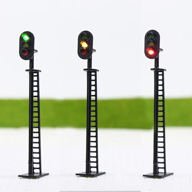 JTD02 5 stücke Modell Eisenbahn Block Signale 3 lichter Grün Gelb Rot Verkehrs Signal Lichter HO oder OO Skala 8,3 cm 12V Led Neue