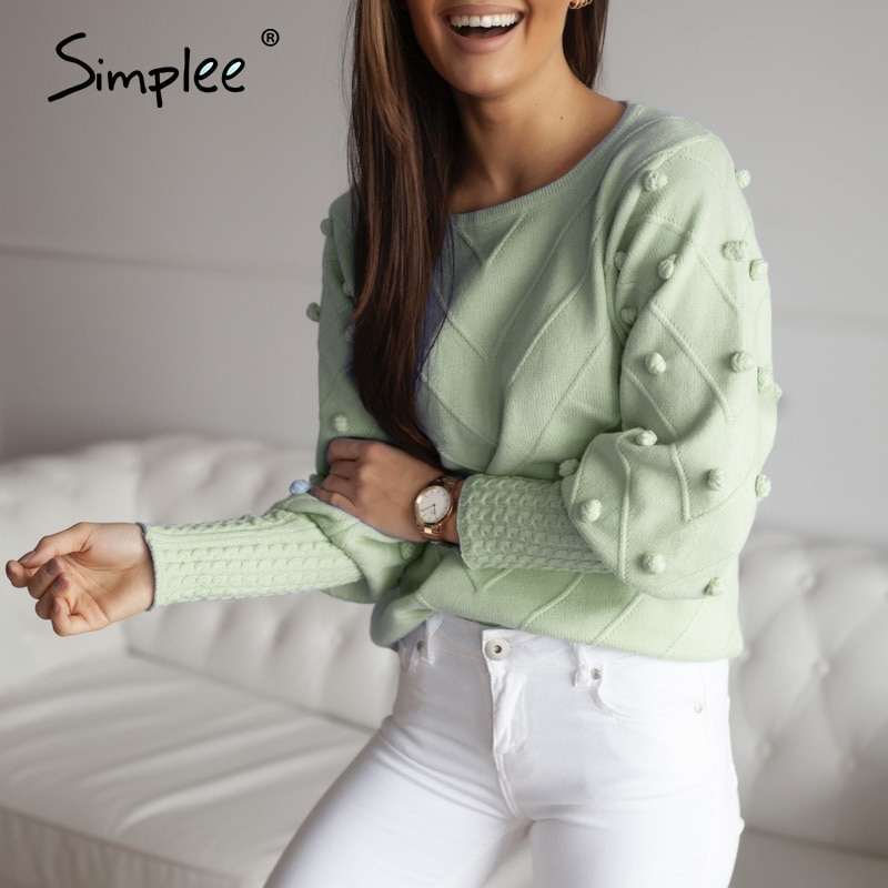 Simplee Elegant fur pompon sweater Autumn winter lantern sleeve knitted sweater female Streetwear ladies green pullover 2020