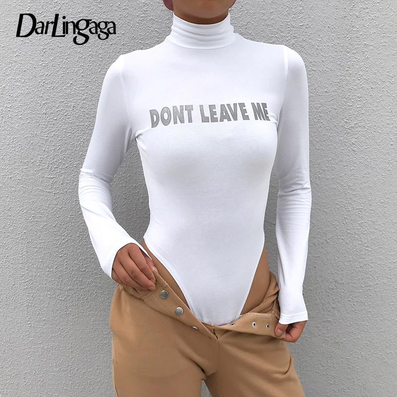 Darlingaga Autumn Winter Turtleneck Bodysuit Women Reflective Letter Body Long Sleeve Streetwear Fitness Jumpsuit Bodysuits Tops