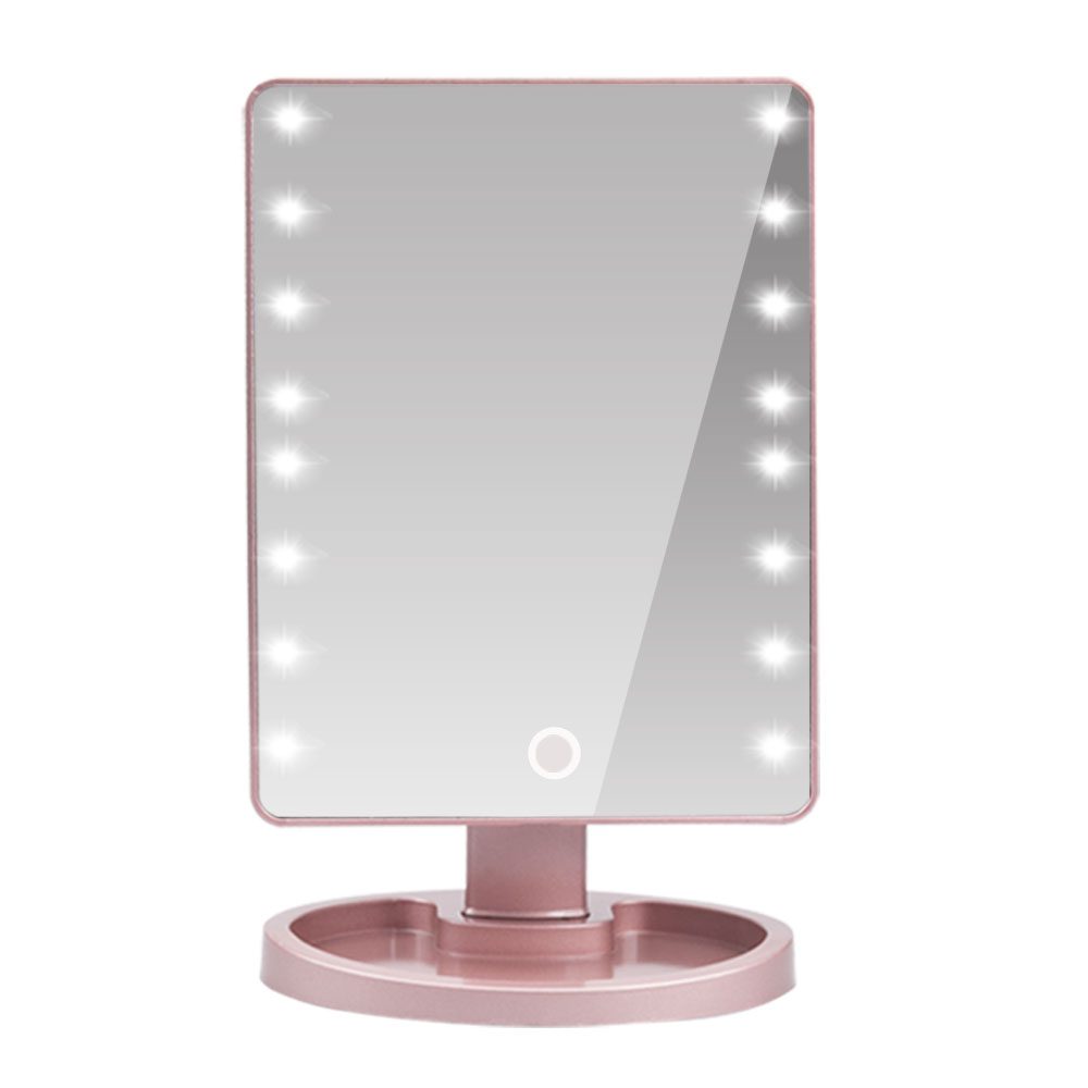 <font><b>16</b></font> <font><b>LED</b></font> <font><b>Light</b></font> Touch Screen Makeup Mirror With 10x Magnifying Glass Flexible Cosmetics Table Mirror Vanity Mirror high quality image