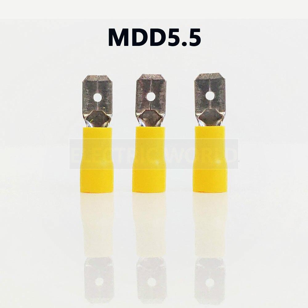 MDD5.5 series 100 шт./пакет изолированный Штекерный разъем, кабельный разъем, Проводные клеммы, предварительно изолирующие клеммы, женские клеммы