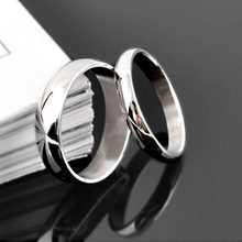 2019 new arrival 4mm 6mm round Simple Couple 316 Titanium Stainless Steel Couple Ring Silver Color for Women Fashion Wedding(China)