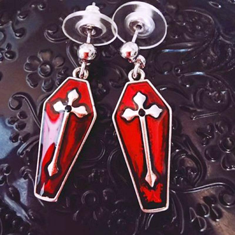 steampunk earrings coffin shape skull accessories bronze skull coffin earrings coffin shape earrings steampunk love skull earrings