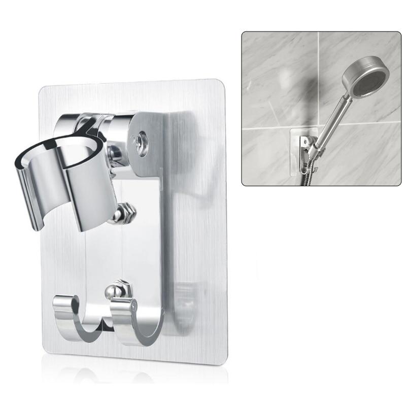 Soporte de pared para alcachofa de ducha Soporte de pared de aluminio para montaje en pared con 2 ganchos