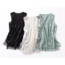 100% Silk Tank Tops For Women Casual Style Solid 3 Solid Lace Up Decoration V Neck Sleeveless Basic Top Clothing New Fashion