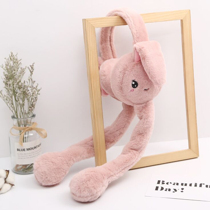 Winter Kids Women Faux Earflap Girl Child Funny Plush Animal Rabbit Ear Bunny Cap With Airbag Jumping Ear Movable Gift Earmuffs