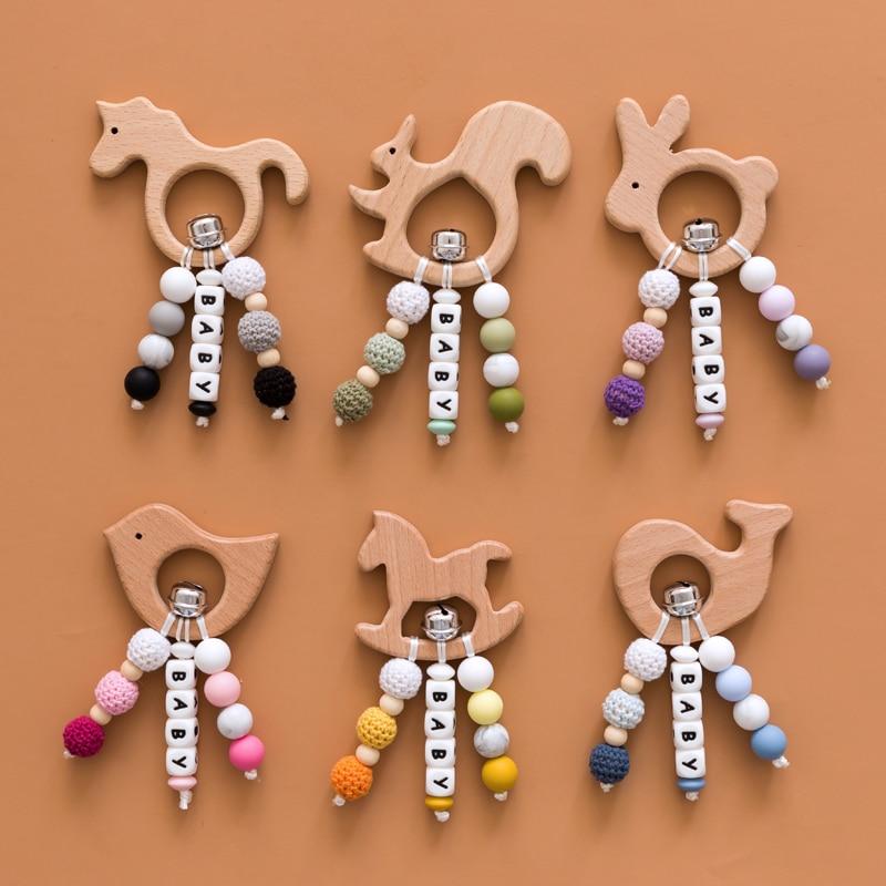 Let's Make Personalized Rattle Cartoon Unicorn Bird Beech Animal Teething Toys Silicone Beads Custom Baby Name Baby Shower Gift