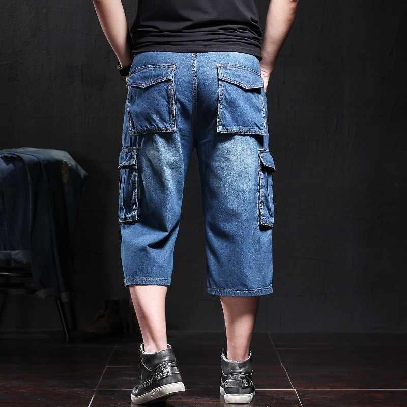 Fashion Casual męskie spodenki dżinsowe męskie letnie kieszenie Baggy spodenki jeansowe Plus rozmiar proste spodnie Cargo odzież męska