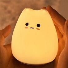 Đèn LED Mèo Đèn Ngủ 7 Màu Sắc Pin Silicone Mềm Kid Đầu Giường Trang Trí Ánh Sáng Cho Bé Đi Nhà Trẻ Hoạt Hình Đèn Dành Cho Trẻ Em quà Tặng