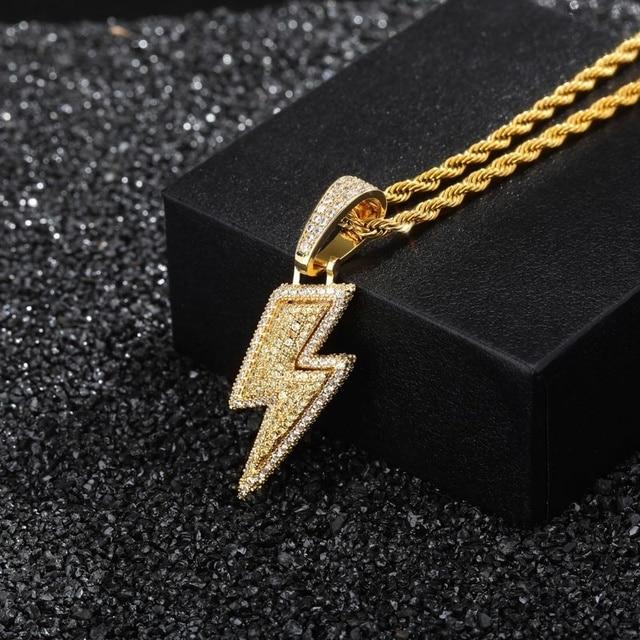 2021 Jewelry Fashion Retro Full Zircon Lightning Necklace Men's Hip Hop Party Locomotive Accessories Pendant Necklace Jewelry 3