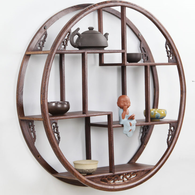 Wall of round wood hanging rack little wood support ancient wood solid Chinese wood teapot tea ancient shelves