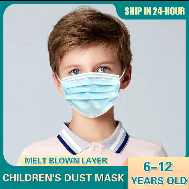 Children Face Masks 3 Layer Elastic Mouth Mask Kids Disposable Mask Soft Breathable Pm2.5 Nonwoven Blue Pink White Boys Girls