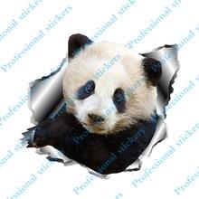 Interesting 3D Panda Decals Torn Metal Car Window Car Body Car Stickers Reflective Animal Car Styling
