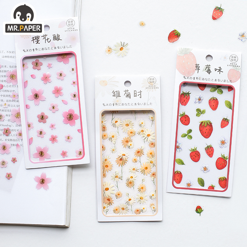 Mr.paper 4 Designs 2pcs/lot Flower Season Japanese Kawaii Stickers Scrapbooking Bullet Journal Popular Deco Plain Sheet Stickers