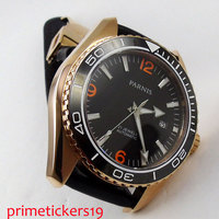 45mm PARNIS  black dial golden plated case sapphire glass automatic men's watch date movement leather strap 306