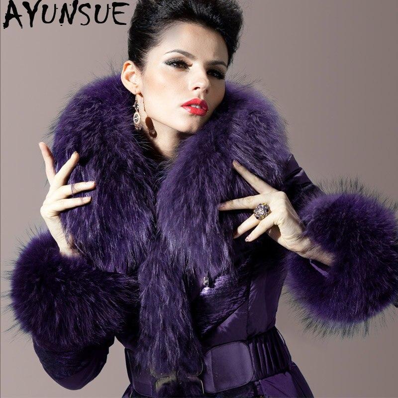 Jacket Down Women's Real Fox Fur Coat Winter Jacket Women Luxury Long Jackets For Women Warm Parka Chaqueta Mujer MY4047 S
