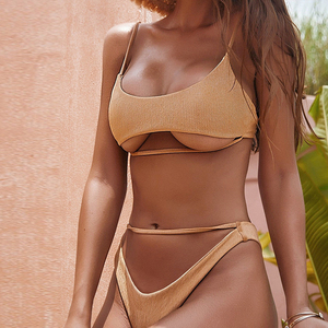 Bikini Underboob 2019, bañador con ahuecado Tanga, bañador Sexy de mujer, traje de baño de tira G caqui ostentoso, traje de baño de realce S-L