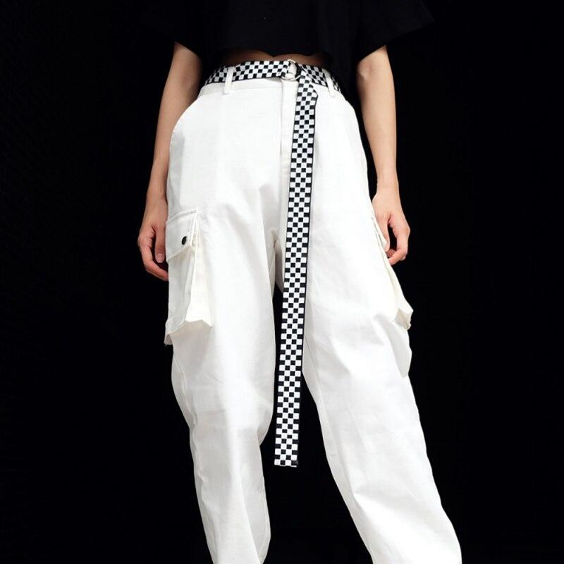 Checkerboard Double Loop Shaped Mental Buckle Waist Jeans Belt Fashion Woven Female Waistbands Streewear Casual 2019 Waistband