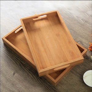 Square-Tray Rectangular-Plates Cake Food-Snack Meals Wood Bamboo Tea-Coffee-Cocktail