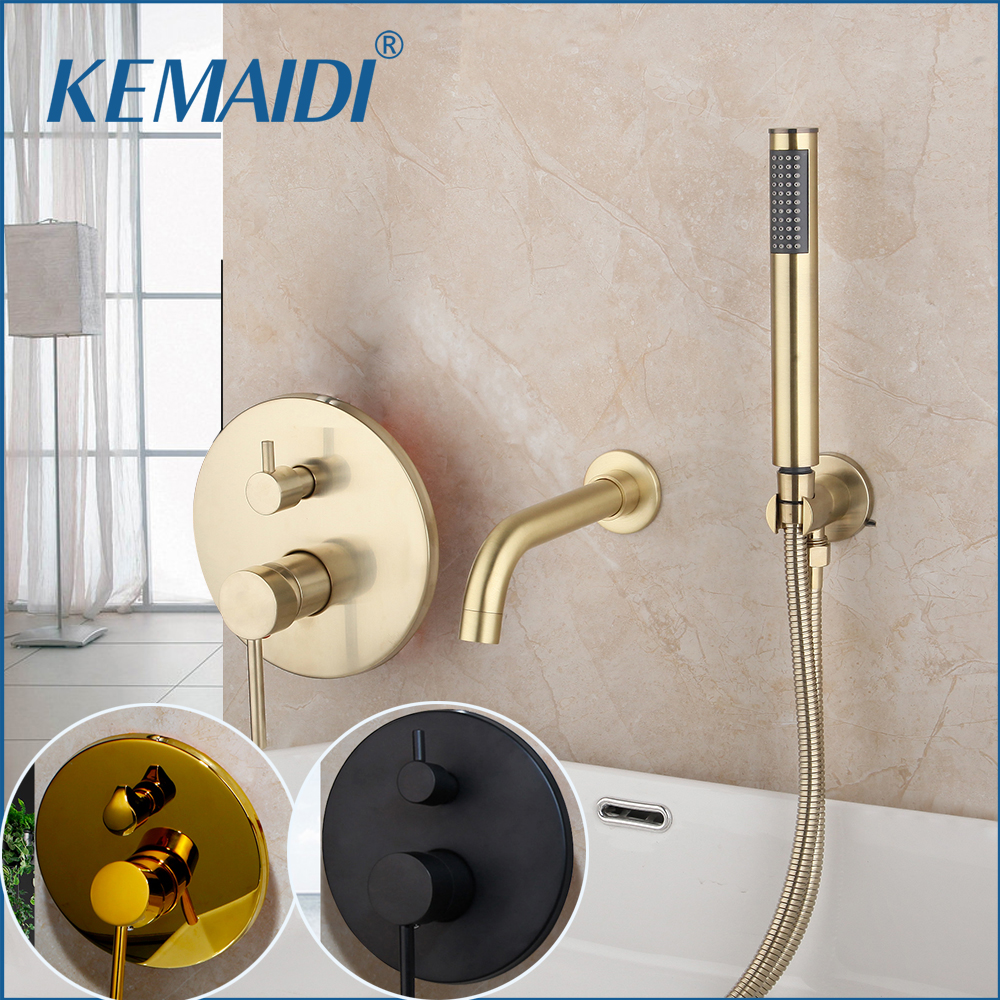 KEMAIDI Brush Golden Bathtub Mixer Matte Black 2 Functions Bathroom Faucets Shower Set Plated Faucet Shower Set W/ Hand Spray