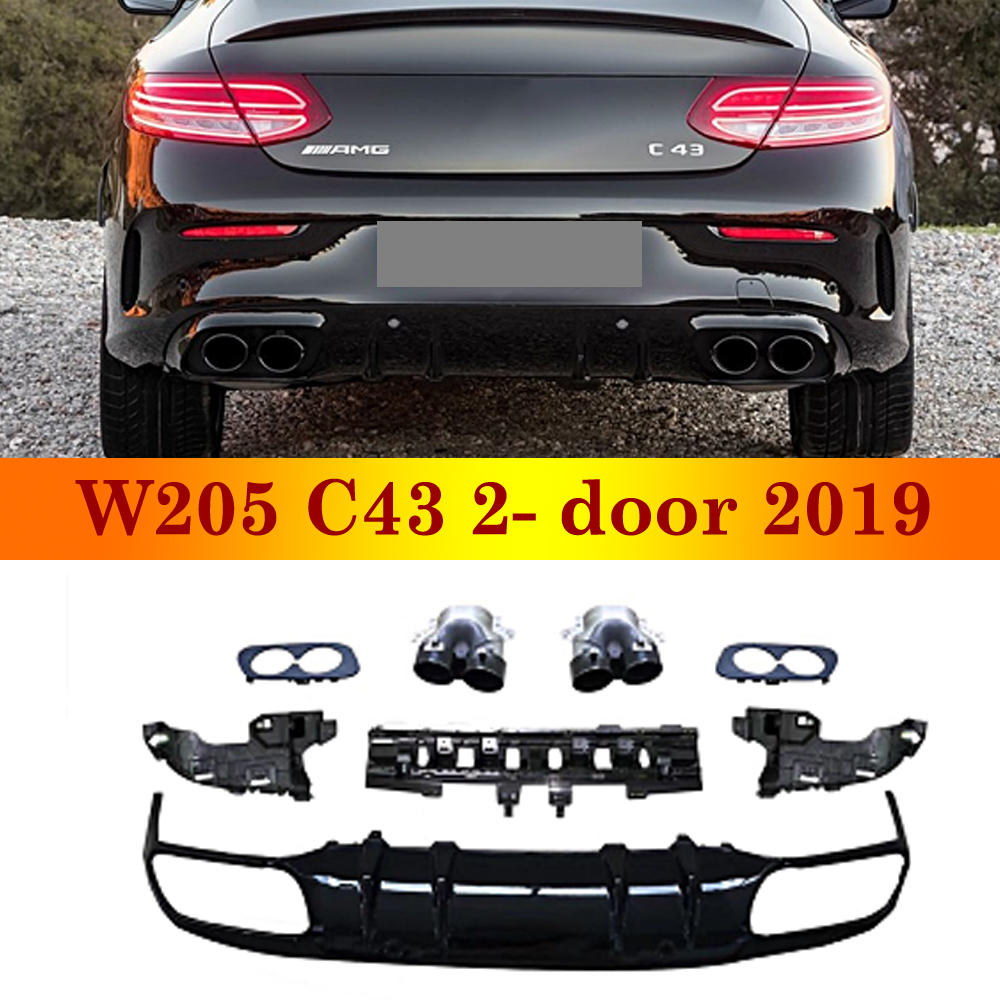 2019 New Arrival Rear Diffuser For Mercedes-<font><b>benz</b></font> C class <font><b>W205</b></font> C43 2-door Coupe Sport Version ABS Back <font><b>Bumper</b></font> With Exhaust Tips image