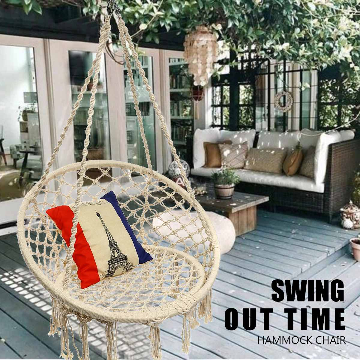 Nordic Round Hanging Hammock Chair Outdoor Garden Yard Indoor Bedroom Furniture Safety Swinging Chair For Child Adult