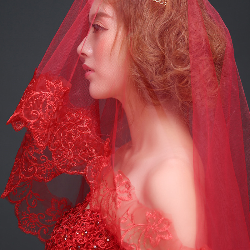 Red Wedding Veils 1.5/3/5M Lace Edge Bridal Accessories Mariage Bride Welon