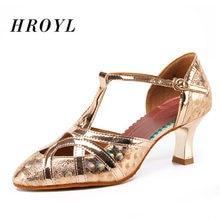 Hroyl Топ латинский современный танец обувь для женщин ПУ Блестящие