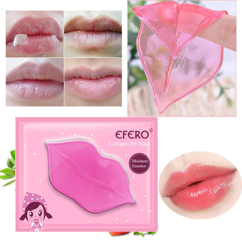 Efero 1Pc Lip Voller Crystal Collageen Lip Masker Pads Vocht Essentie Anti Aging Rimpel Patch Pad Gel Lippen Care enhancer TSLM1