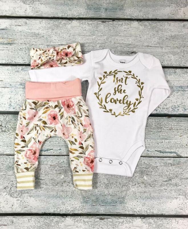 CANIS Newborn Baby Girls Kids Clothes Jumpsuit Romper Pants Bodysuit Outfits Set