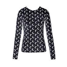 Chemise à manches longues et col roulé pour femmes, couleur unie, imprimé croissant de lune, col rond, haut moulant, Chic, tendance, été