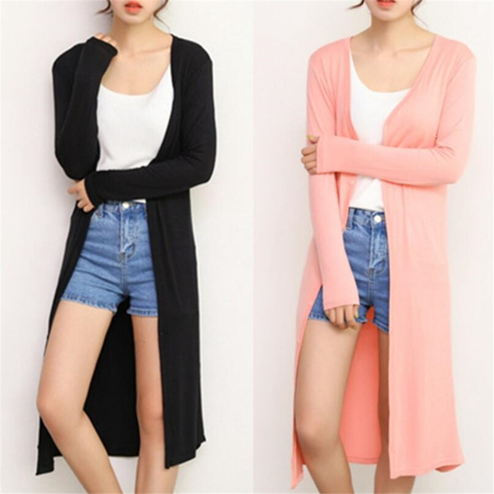 Summer Autumn 12 Colors Women's Modal Long Cardigan  Cotton Sweater Cardigans Long Sleeve Women's Casual Coat Ladies Outerwear 1