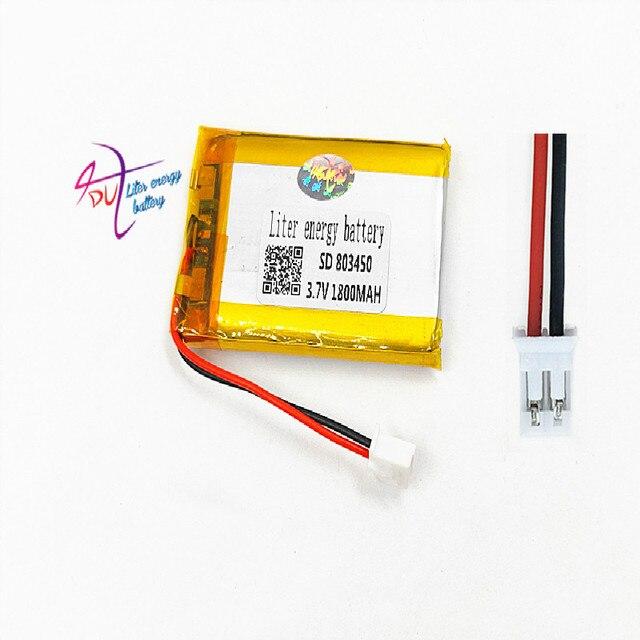 JST PH 2.0mm 2pin 3.7V Lithium Polymer 1800mAh LiPo Pin Sạc với cổng kết nối Cho MP3 DVD MIẾNG LÓT camera GPS Laptop 803450