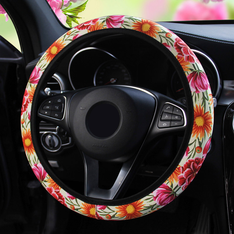 New Car Steering Wheel Cover Sunflower Floral Elastic Band Without Loop