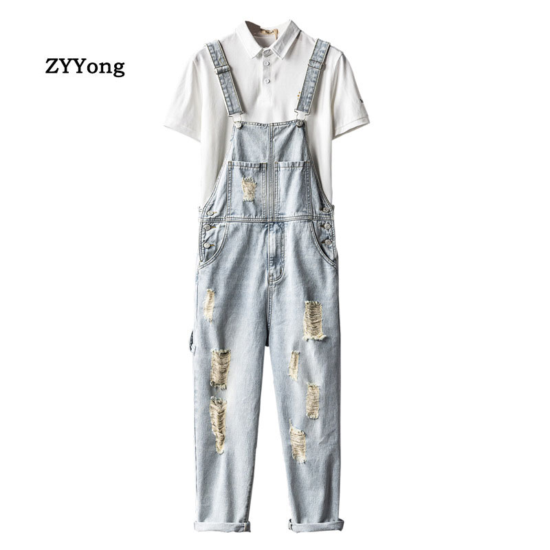 Men Hole Bib Denim Overalls Loose Fashion Hip Hop Ripped Jeans Jumpsuit Blue Tattered Homme Wide Leg  Pants Freight Trousers