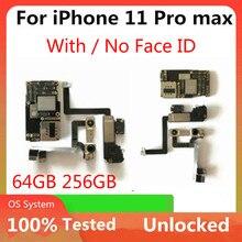 무료 배송 iPhone 11 Pro Max Unlocked 마더 보드 로직 보드 NO icloud With / No Face ID For iphone 11 / 11 pro MB