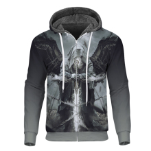Cloudstyle Winter Mens Skulls Fleece Zipper Hoodie 3D Printed Angel Demon Thick Long Sleeves Fashion Coat Streetwear