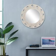 Wall Hanging Mirror Hand-Made Cotton Rope Round Mirror Art Decoration Mirror Wall Art For Bathroom Wall Decorative Mirror цена и фото
