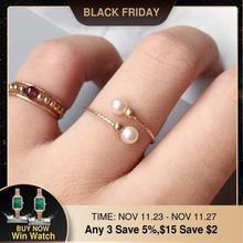 Anneau de perles naturelles fait à la main, bijoux faits à la main, anneaux remplis en or, cadeau Boho Anillos pour Femme