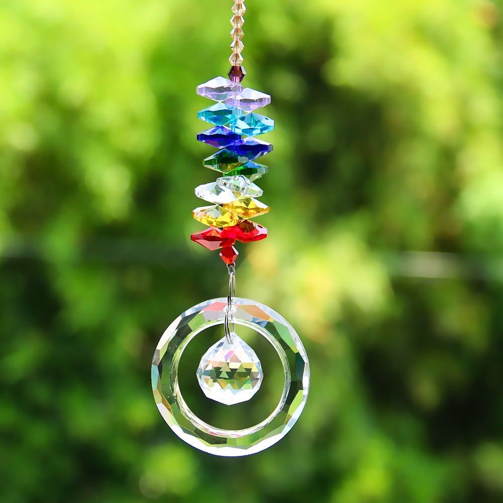 DIY Multicolor Crystals Beads Clear Chandelier Crystals Pendants Hanging Ornament Suncatcher Prisms Garden Decor Accessories
