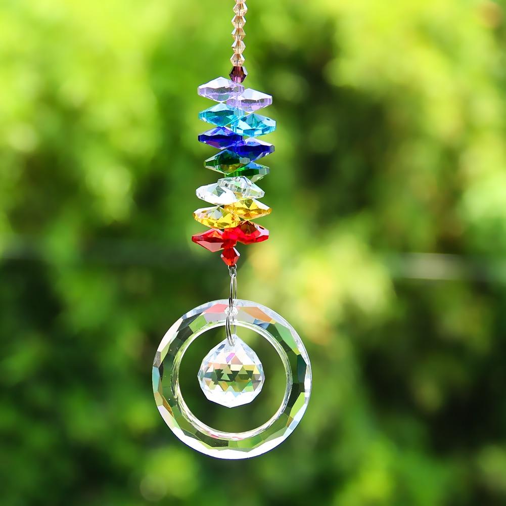 DIY Multicolor Crystals Beads Clear Chandelier Crystals Pendants Hanging Ornament Suncatcher Prisms Garden Decor Accessories