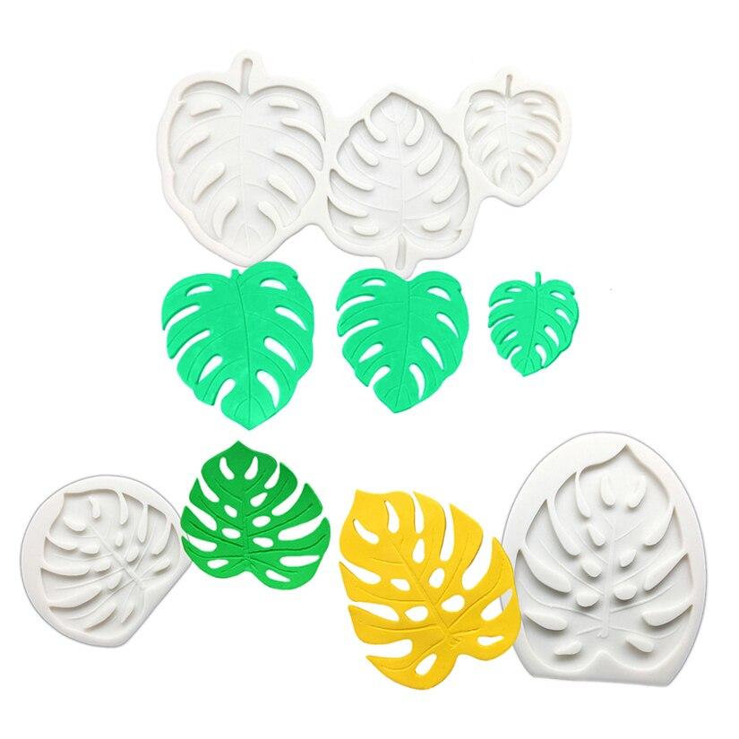 Monstera Deliciosa Leaves Shape Silicone Baking Mold Fondant Cake Decorating Tools