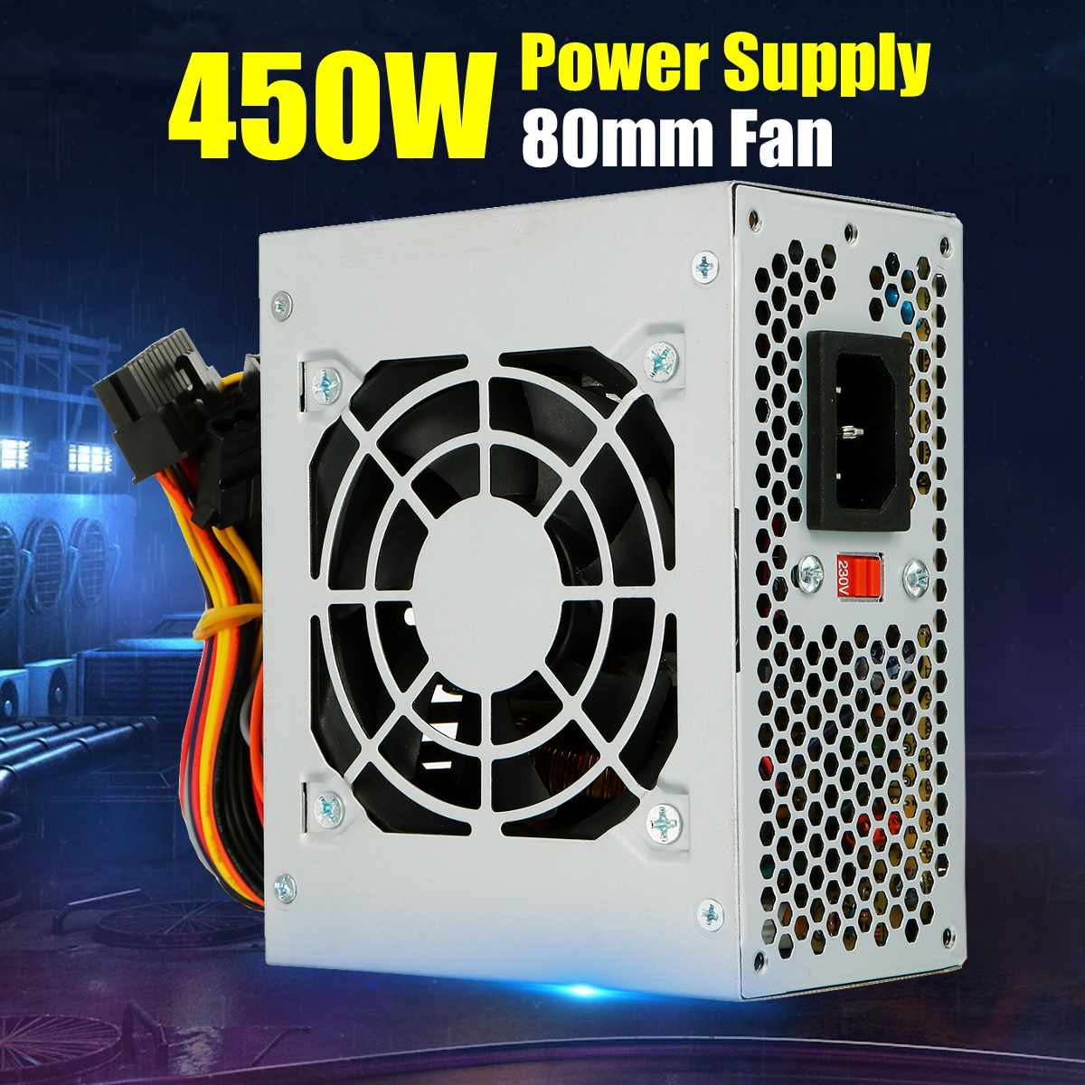 Quiet 450W For Intel AMD PC 12V ATX PC Power Supply SLI PCI-E 80mm Fan Computer Power Supply For BTC