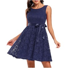 Dress Women's Sleeveless Knee-Length O-Neck Casuala-Line Party-Swing Floral-Lace Cocktail