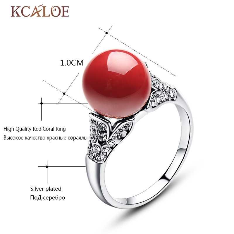 KCALOE สีแดง Artificia Coral แหวนคริสตัลออสเตรียหมั้นผู้หญิงเครื่องประดับ Silver/Rose Gold สีรอบลูกหินธรรมชาติแหวน
