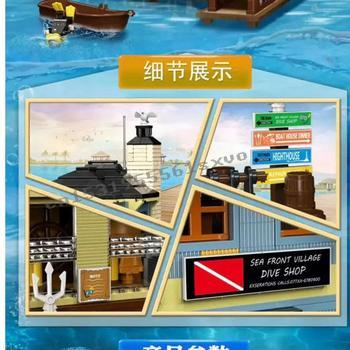 2020 new The Old Fishing Store Dive Shop City Creator Street View MOC Model Building Blocks Lepinblocks bricks Kits Toy gift 2